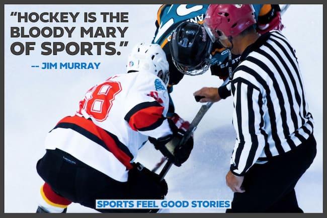 Jim Murray célèbre le sport cite l'image du hockey